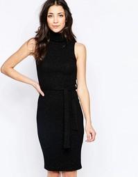 Платье миди с отворачивающимся воротником Wal G - Черный