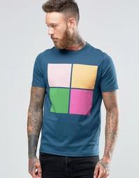 Синяя футболка с 4 квадратными принтами Paul Smith - Petrol blue