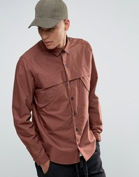 Красно-бурая рубашка в стиле милитари с длиными рукавами ASOS