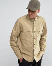 Рубашка песочного цвета в стиле милитари с длинными рукавами ASOS