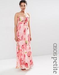 Платье-бандо макси из сетки с цветочным принтом ASOS PETITE WEDDING