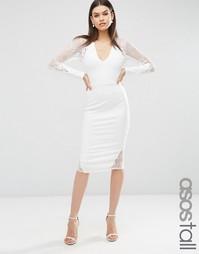 Платье миди с длинными рукавами и кружевом ASOS TALL - Кремовый
