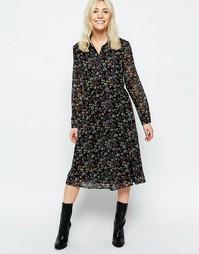 Платье-рубашка миди с цветочным принтом в стиле фолк Neon Rose