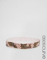 Ремень с отделкой жемчугом и бисером ASOS CURVE Co-Ord - Розовый