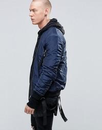 Куртка-пилот с отцепляемыми ремешками Sixth June - Темно-синий