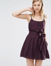 Платье в клеточку с ремнем Jack Wills - Темно-синий и сливовый