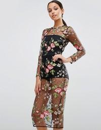 Облегающее платье из сетчатого кружева с цветочным рисунком и боди ASO Asos