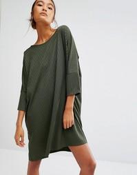 Платье-футболка в рубчик Daisy Street - Хаки
