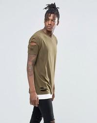 Рваная удлиненная футболка цвета хаки с потертостями и контрастным кра Asos