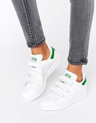 Белые с зеленым кроссовки на липучках adidas Originals Stan Smith