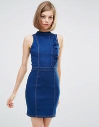 Приталенное джинсовое платье с оборкой Lost Ink - Синий