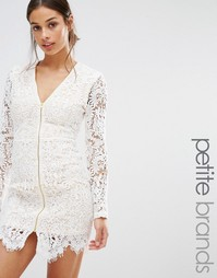 Кружевное платье мини на молнии Missguided Petite - Белый