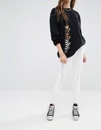 Рваные укороченные джинсы Noisy May Lucy - Снежно-белый