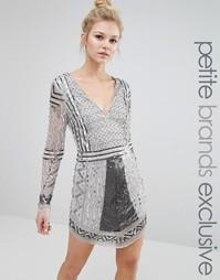 Платье мини с длинными рукавами и отделкой Maya Petite - Серебряный