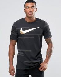 Черная футболка с золотистым принтом Nike 835759-010 - Черный