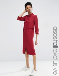 Платье-рубашка миди с асимметричными оборками ASOS TALL - Maroon