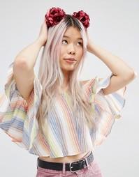 Цветочная повязка на голову с помпонами ASOS - Красный