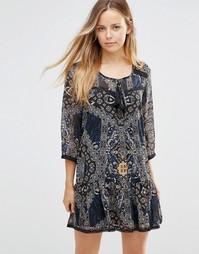 Платье с принтом и заниженной талией Only Parki - Patch black