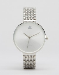 Часы с большим циферблатом и узким браслетом ASOS - Серебряный