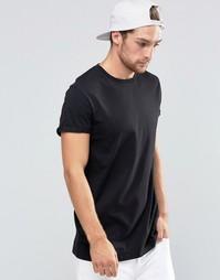 Черная длинная футболка с отворотами на рукавах ASOS - Черный