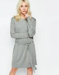 Трикотажное платье с завязкой сбоку Neon Rose - Серый меланж