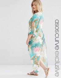 Пляжное кимоно макси с разрезами по бокам и цветочным принтом ASOS CUR
