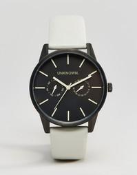 Часы с серым кожаным ремешком UNKNOWN - 39 мм - Серый