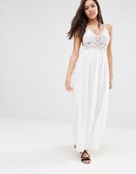 Платье макси с ажурным лифом Missguided - Белый