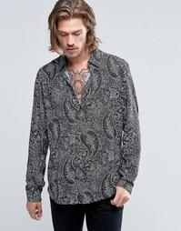 Рубашка классического кроя из вискозы с принтом пейсли ASOS - Черный