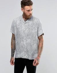 Рубашка из вискозы с принтом пейсли и отложным воротником ASOS - Белый
