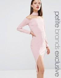 Платье-футляр с горловиной‑чокер и разрезом спереди Naanaa Petite