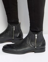 Кожаные ботинки на молнии Hudson London Mitchell - Черный