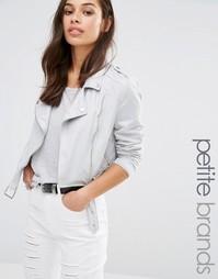 Байкерская куртка из искусственной кожи Missguided Petite - Серый