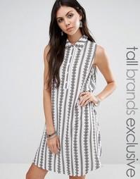Платье-рубашка в полоску без рукавов Glamorous Tall - Мульти