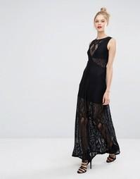 Кружевное платье макси без рукавов BCBG Max Azria - Черный