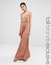 Платье макси с плиссированной юбкой True Decadence Tall - Розовая роза