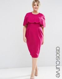 Облегающее платье с оборкой на рукавах ASOS CURVE - Сливовый