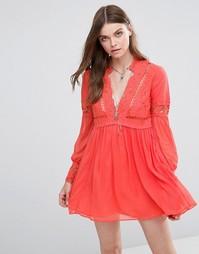 Платье с кружевными вставками Free People Dreamland - Коралловый