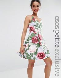 Платье для выпускного с бретельками и цветочным принтом ASOS PETITE