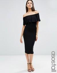 Облегающее платье миди с открытыми плечами и оборкой ASOS TALL