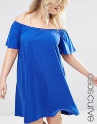 Платье в стиле бохо с открытыми плечами ASOS CURVE - Синий