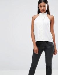 Кружевная блузка с высоким воротом Vesper - Кремовый