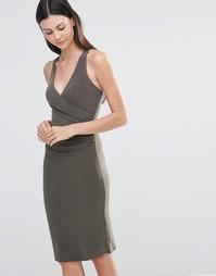 Платье миди с перекрестными бретельками сзади Love - Хаки