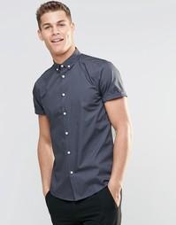 Серая рубашка в строгом стиле с короткими рукавами и воротником на пуг Asos