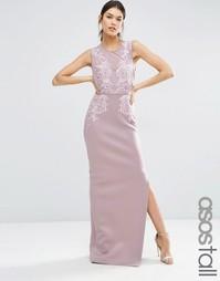 Платье макси с вырезом сердечком и отделкой ASOS TALL RED CARPET