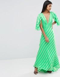 Полосатое платье макси с волнистыми рукавами-бабочка ASOS - Зеленый