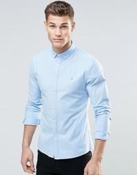 Голубая оксфордская рубашка облегающего кроя с логотипом ASOS - Синий