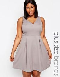 Приталенное платье с вырезом сердечком Koko Plus - Нежно-серый