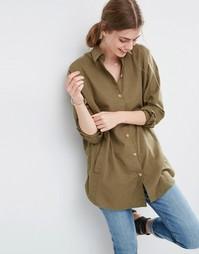 Мягкая саржевая oversize‑рубашка ASOS - Хаки