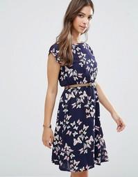 Платье с принтом бабочек Yumi - Темно-синий